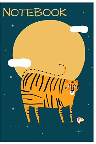 Notebook: Cute Tiger Notebook/Journal for Adults/Children Animals Lovers to Writing (6x9 Inch. 15.24x22.86 cm.) Lined Paper 120 Blank Pages (SUN&CLOUDS YELLOW&BLUE&WHITE&ORANGE Pattern)