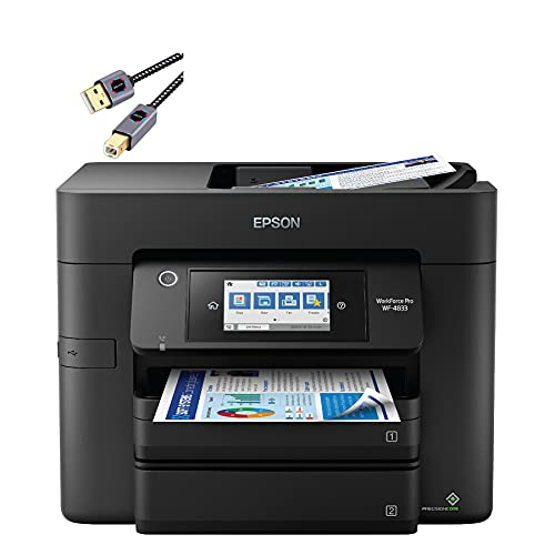 """Epson Premium Workforce Pro WF-4830 Series All-in-One Color Inkjet Printer I Wireless I Mobile Printing I Auto 2-Sided Printing I 4.3"""" LCD I 500-sheet Tray Capacity I 25 ISO PPM + Delca Printer Cable"""