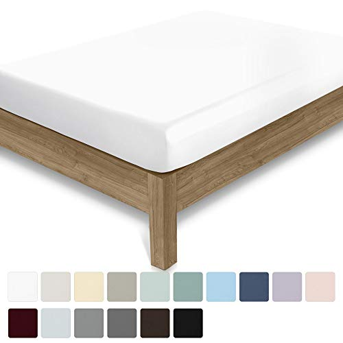 400 Thread Count Cal King Size Pure White Fitted Sheet - 100% Cotton 1 Piece Bottom Fitted Sheet Only, Long Staple Combed Pure Natural Cotton Bedsheet, Lightweight, Soft & Silky Sateen Weave Sheet