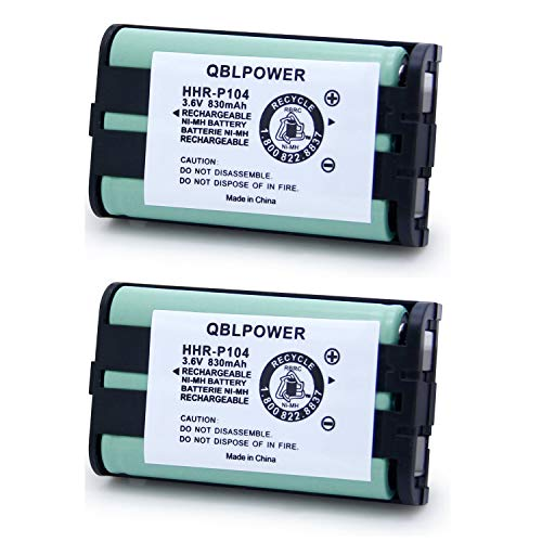 QBLPOWER 3.6V 830mAh HHR-P104 Phone Battery Replacement Compatible with Panasonic Type 29 HHRP104 HHR-P104A KX-TGA520M KX-FG6550 KX-FPG391 KX-TG2388B KX-TG2396 KX-TG2300 (2 Pack)