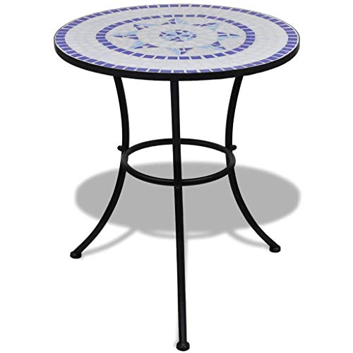 Lechnical Bistro Table Ceramic Table Top, Round Side Table, Garden Outdoor Patio Balcony Bistro Cafe Furniture, Mosaic Design Coffee End Table Blue and White 60 cm