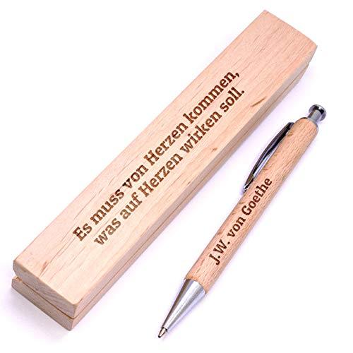 Holz-Kugelschreiber mit Gravur inkl. Etui |Name oder Spruch | personalisiert |Buchenholz | zB.: als Geschenk-Idee zur bestandenen Prüfung