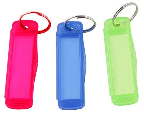 Fackelmann Schlüsselanhänger TECNO, Schlüsselschilder zum Beschriften, Schlüsselhalter aus Kunststoff (Farbe: Grün, Blau, Rosa), Menge: 3 Stück