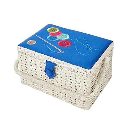 Sewing online FM-012 | Cestino per cucire con motivo ricamato | Blu 26x19x15cm