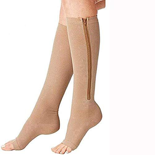 Pupsock Kompressionsstrümpfe, mit Reißverschluss Medical Kompressionsstrümpfe mit Vorne offenem Schuhe, Dehnbare Beinstütze Unisex Kniestrümpfe (3 Paare) (Color : Beige, Size : L)