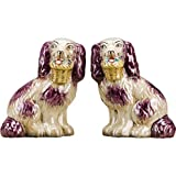 OR Staffordshire Reproduction Pair Red/Pink Dog Figurines W/Flowers in Mouth