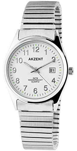 Akzent Herrenuhr Weiß Datum Analog Zugband Zugarmband Quarz Armbanduhr