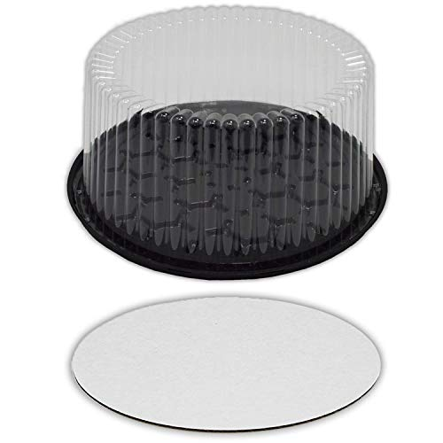 10 Inch Cake-Container with Clear Dome Lid 9 Inch Round Cake Boards - Cake Holder with Lid is for 2 Layer Cakes Cake Supplies, 10 Pack of Each