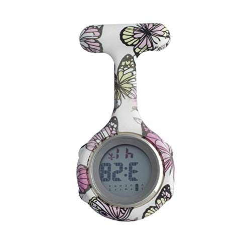 Krankenschwester Digital-Silikon-Krankenschwester-Uhr Fob-Taschen-Uhren Hundepfoten Doktor Medical Krankenhaus Brosche Revers Clock Marke Datum Woche Anzeige (Color : White)