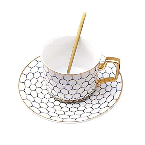 ZLDGYG Phnom Penh Elegante tazza da caffè in ceramica con piattino, tazza in gres porcellanato, per colazione, cucina, ufficio