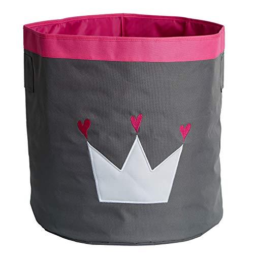 STORE IT - Aufbewahrungskorb, Spielzeugkorb mit Griffen - 44x44x44cm - extra großer Korb für das Kinderzimmer, grau/ weiß/ pink - KRONE