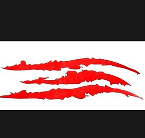 Amandaus 4PCS Claw Marks Decal Reflective Sticker, Waterproof Headlight Decal Fit for All The car Models (Red and Black)