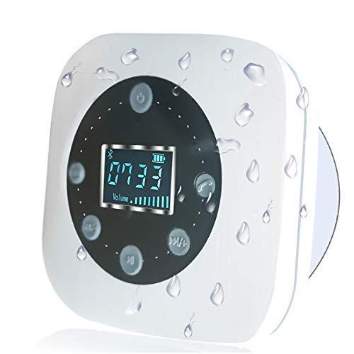 Altavoz de Ducha Impermeable Inalámbrico 5.0, EKOHOME Altavoces S603 con Ventosa, Pantalla de Reloj LCD, 10 Horas de Tiempo de Jugar, Llamadas Manos Libres