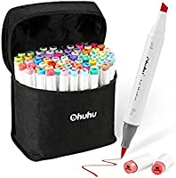 Ohuhu 72 Colours Alcohol Markers, Brush & Chisel Double Tipped Sketch Marker for Kids, Artist, Alcohol Brush Art Marker...