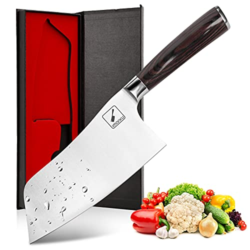 imarku Cleaver Knife, Chinese Chef's Knife German High Carbon Stainless Steel Meat Cleaver with Pakkawood Ergonomic Handle - 7 inches Kitchen Knife for Home, Kitchen & Restaurant