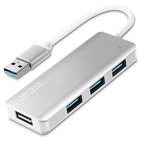 RSHTECH Aluminium 4 Port USB 3.0 Hub, Slim USB 3.0 Verteiler Leicht USB Hub USB Port Datenhub für MacBook, iMac, Windows Laptops, Surface Pro sowie PC und mehr (Silber)