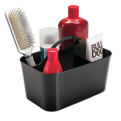 mDesign Dusch Organizer mit 4 Fächern - Bad Aufbewahrungsbox für Duschgel, Shampoo, Rasierer - ideale Aufbewahrung für Camping oder Schwimmbad - schwarz