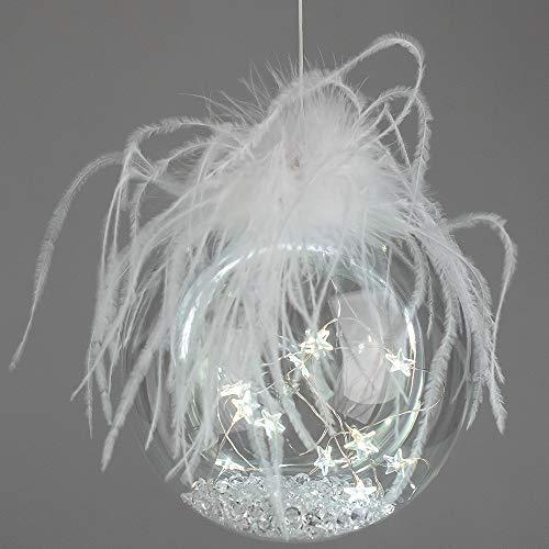 formano LED Deko Kugel EISZEIT Sterne D. 15cm mit Timer Glas W19