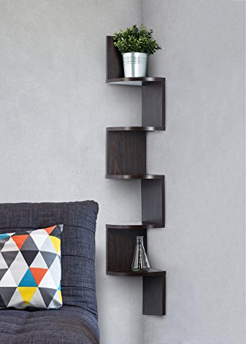 Corner wall shelves work great for nighttime necessities when there is no room for nightstands in your small space