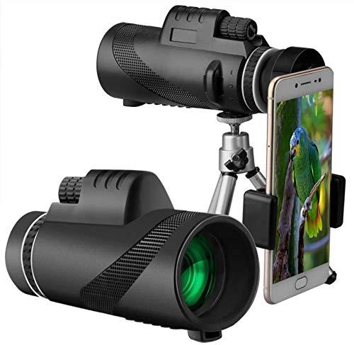 ASDF Monokulares Teleskop mit 40X60 Hochleistungsobjektiv, mit Smartphone-Halter, BAK4-Prisma für Vogelbeobachtung Camping Travelling Wildlife (Schwarz)