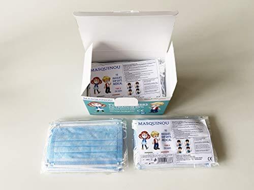 Medizinische Mund Nasen Schutz Maske für Kinder, Mundschutz, Einwegmaske, OP-Maske, Kindermaske, Typ II, 50 Stück, Zertifiziert EN 14683:2019