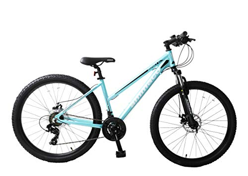 Ammaco. Osprey V1 27.5' 650B Wheel Mountain Bike Front Suspension Hardtail 21 Speed Mechanical Disc Brakes Alloy 16' Frame Peppermint Blue