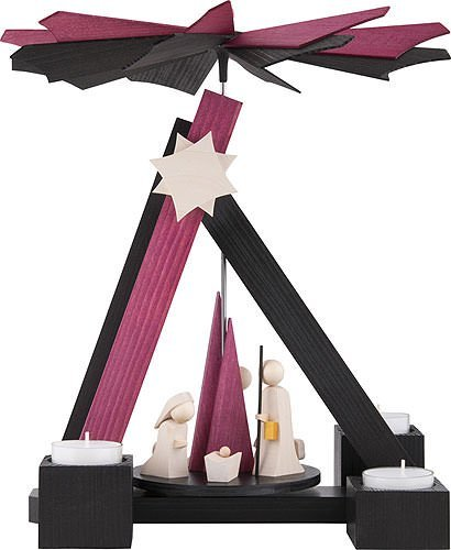 Weihnachtspyramide 1-stöckige Pyramide modern Christi Geburt - 30cm - Original Erzgebirge - ULMIK