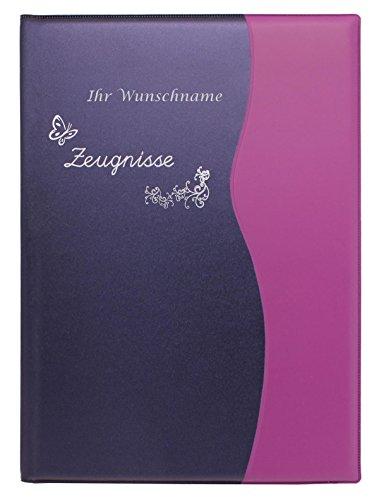 Zeugnismappe mit Gravur / Zeugnisringbuch DIN A4 mit 10 Hüllen / Farbe: metallic lila