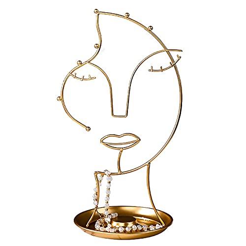 RWEAONT Bricolaje Pantalla de joyería Pendiente Pendiente Collar Caja de Almacenamiento Organizador Colgante Forma de Cara Decoración de Escritorio Decoración Creativa Adornos de Metal (Color : Gold)