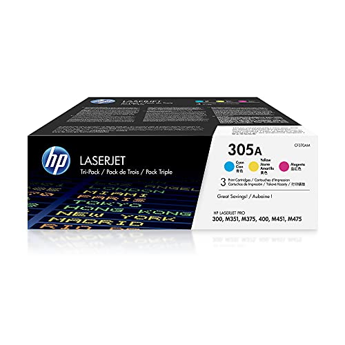 HP 305A | CE411A, CE412A, CE413A | 3 Toner Cartridges | Cyan, Yellow, Magenta | Works with HP LaserJet Pro Color M451 series, M475 series, M375nw