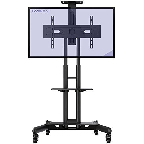 Invision TV Ständer mit Rollen Universal Mobil Wagen Fernsehständer Schwenkbar Standfuß mit Höhenverstellbar Ultra Stabil Halterung Fernsehtisch für 32-65 Zoll VESA 600b x 400h [GT1200 ScreenStation]