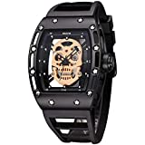 Mens Skeleton Skull Luminous Quartz Watches Military Style Rectangle Dial Face Watch Waterproof Sport Black Silicone Menâ€s Watch
