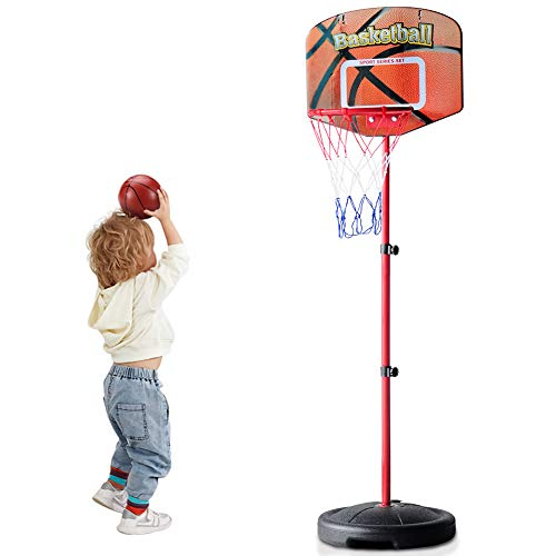 Toddler Mini Indoor Basketball Hoop with Stand Adjustable Height 2.59 - 5.24 ft Outdoor Basketball Goals with Net Ball Pump Room Yard Games for Boy Girl Kids Outside Sport Toys Birthday Gifts