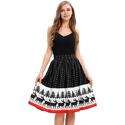 MIRRAY Damen Mädchen Röcke Reich Weihnachten Lustige Nette Mode Gedruckt Elastische Hohe Taille...