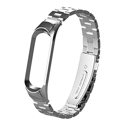 Pulsera de acero inoxidable con correa de pulsera milanesa para Miband 5 Pulseira para Xiaomi Mi Band 5 4 3 correas-Plata, para Xiaomi 5