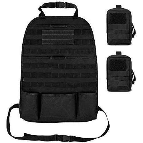 Gogoku Car Backseat Organizer Tactical Molle Panel Seat Back Protector Cover with Two Molle Pouch