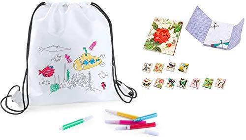 DISOK - Lote 20 Mochilas Petate para Colorear con Rotuladores + 3 Bloc de Notas Floral- Regalos Cumpleaños, Comuniones, Colegios, Niños, Infantiles