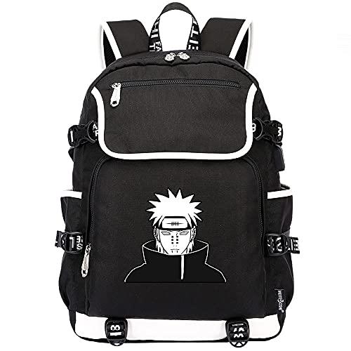 XUNUOL Mochila escolar de Naruto, mochila de viaje cómoda resistente al agua, mochila para equipaje de anime, mochila universitaria para niños, negra con puerto de carga USB
