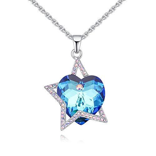 """LWQIONG Love Heart Necklace for Women Birthstone Necklace for Wife,Mon,Her Crystal Pendant Jewelry Valentines Gift Silver-Tone, 18"""" Chain"""