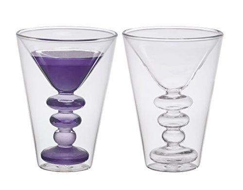 Bitossi Home BHV12670 Set 2 Bicchieri Martini Cocktail, in Vetro Borosilicato Doppia...