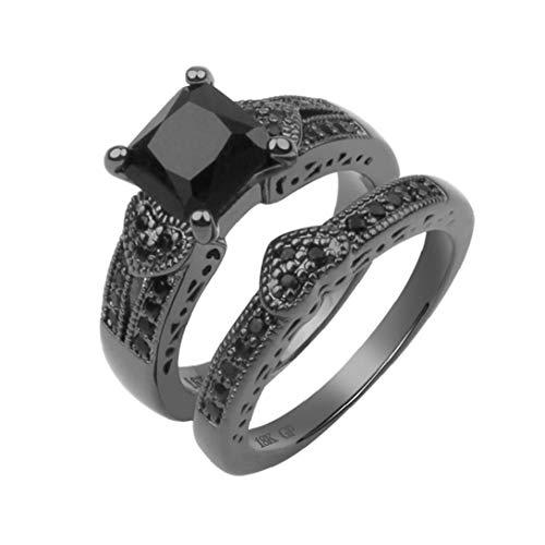 ZYCX123 Diamante de Corte halo Anillos de Boda Anillos de Compromiso de Novia Pieza Redonda de Oro Negro Manera de los Anillos de joyería Set 1Ponga 8 Tipo de la joyería Regalo