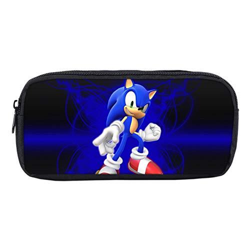 LINGJIA Sonic Mochila para Niños Impreso Anime Sonic Hedgehog Bros Super Mario Bag Papelería De Dibujos Animados Estuche De Lápices Caja De Maquillaje Bolsa De Almacenamiento Niños Útiles Escolares