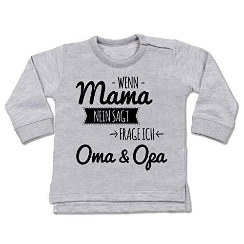 Shirtracer Sprüche Baby - Wenn Mama Nein SAGT frag ich Oma und Opa - 18/24 Monate - Grau meliert - Baby Pullover oma Opa - BZ31 - Baby Pullover