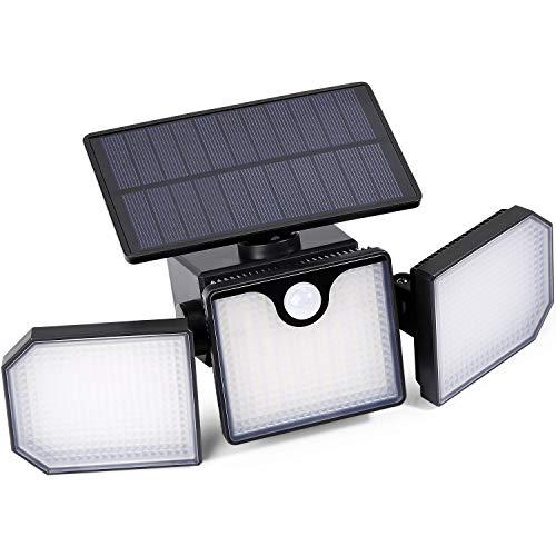 230 LED Lampe solaire extérieur détecteur de mouvement, Elekin 800LM lumière solaire extérieure IP65 étanche 360° applique murale pour jardin