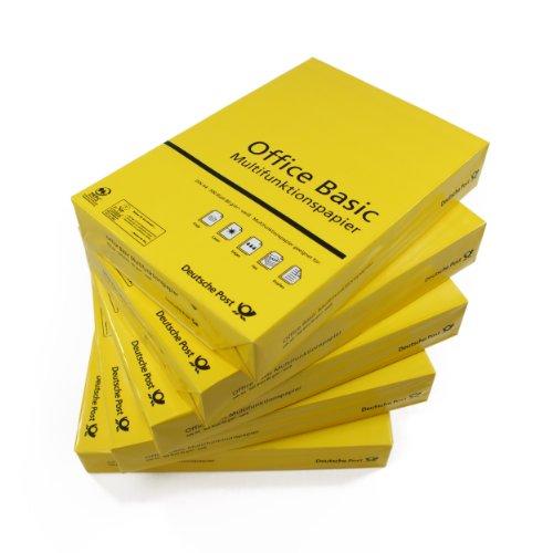 2500 Blatt Multifunktionspapier, Kopierpapier Office Basic DIN A4, weiß, 80g/m² Papier für Laser-/Tintenstrahldrucker/Kopierer/Fax, holzfrei