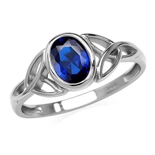 Silvershake Created Blue Sapphire White Gold Plated 925 Sterling Silver Triquetra Celtic Knot Ring Size 8
