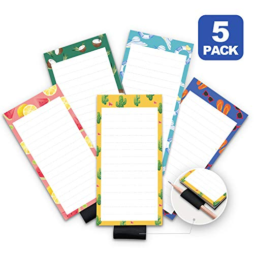 5 Pack Magnetic Notepads for Fridge with Pen Holder, Full Magnet Back Notepad, To Do List, Grocery Shopping, Summer Theme, 6