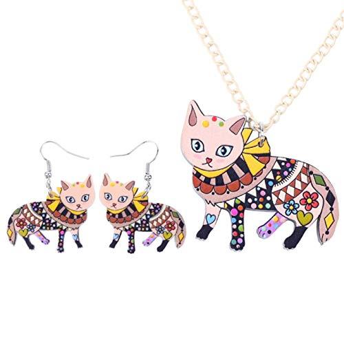 Xx101 Pendientes del Collar del Gato Maxi acrílico Sistemas de la joyería joyería Gargantilla Collar de Moda for Las Mujeres Regalo de la Muchacha Nixx0 (Color : D)