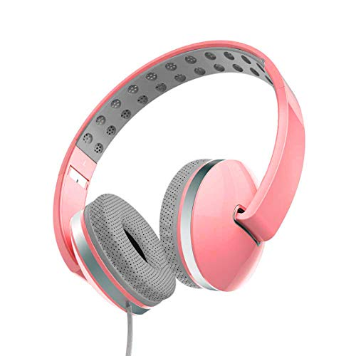 PTron Rebel Headphone Stereo Wired Earphone On-Ear Headset with Mic (Pink)