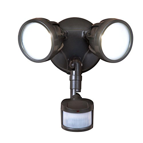 All-Pro 180-Degree Bronze Motion Activated Sensor Twin-Head Round Outdoor Integrated LED Security Flood Light